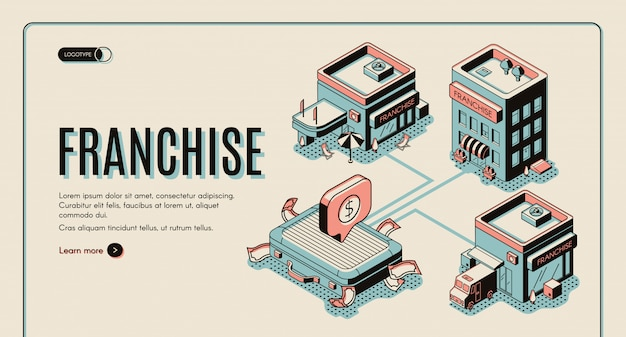 Franchise business start isometric banner on retro colored background.