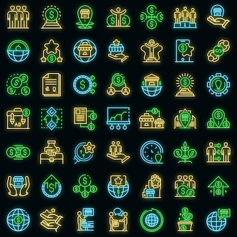Franchise icons set. outline set of franchise vector icons neon color on black