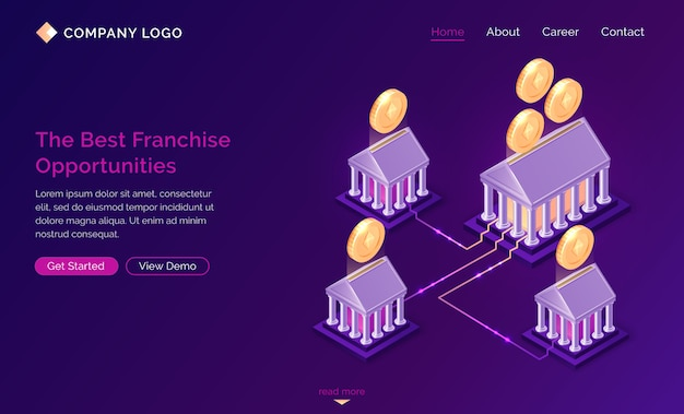Franchise opportunities isometric landing page