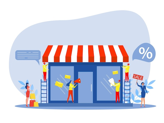 Franchise shop business,people shopping and start franchise small enterprise, company or shop with home office,vector illustrator