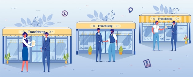 Franchising business concept, open clothing shop.