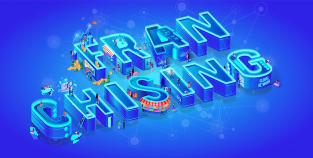 Franchising. vector isometric 3d word. big letters