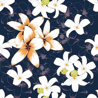 Бесшовные шаблон белый и оранжевый цветы frangipani на темно-синий backgground.