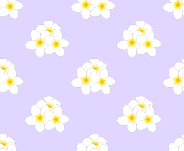 Frangipani seamless on purple background