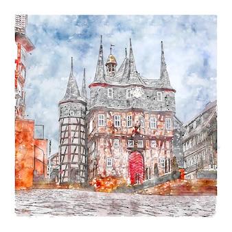 Frankenberg 독일 수채화 스케치 손으로 그린 그림