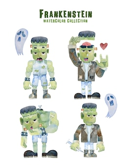 Frankenstein 4 actions halloween collection watercolor painting.