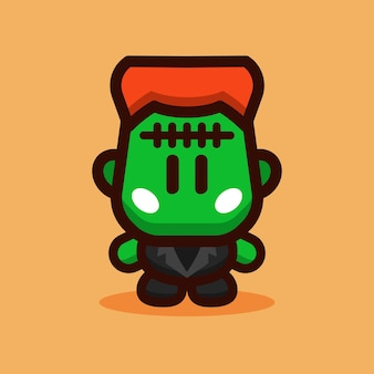 Frankenstein cartoon character vector illustration