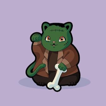 프랑켄슈타인 고양이 귀여운 재미 할로윈 의상