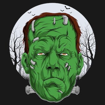 Frankenstein face over full moon scary halloween character