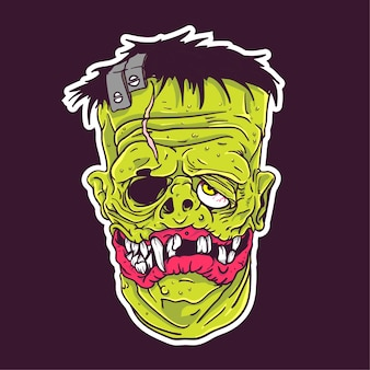 Frankenstein face sticker patch