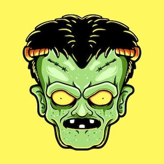 프랑켄슈타인 머리 캐릭터 t셔츠 디자인 삽화