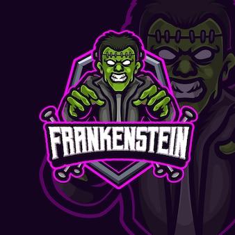 Frankenstein 마스코트 E스포츠 로고 디자인 프리미엄 벡터