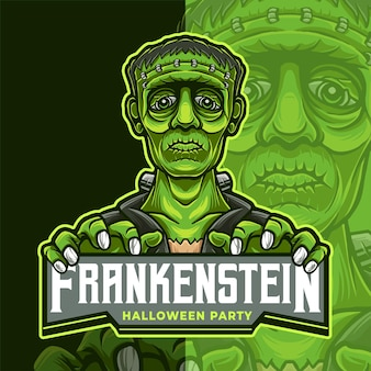 Шаблон логотипа киберспорта талисмана франкенштейна