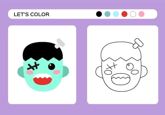 Книжка-раскраска с монстрами франкенштейна. раскраски для детей. счастливая игра хэллоуина. вектор