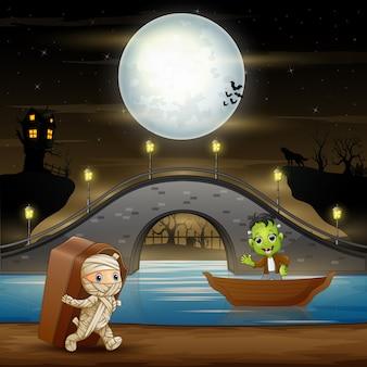Frankenstein and mummy in halloween night illustration