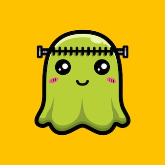프랑켄슈타인 모양의 귀여운 유령 디자인