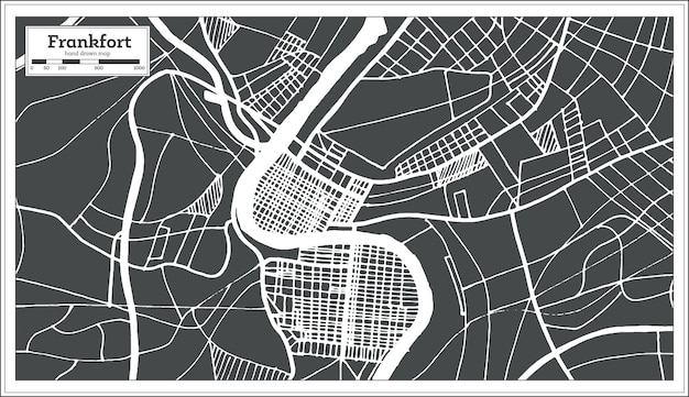 레트로 스타일의 frankfort usa 도시 지도입니다. 개요 지도. 벡터 일러스트 레이 션.