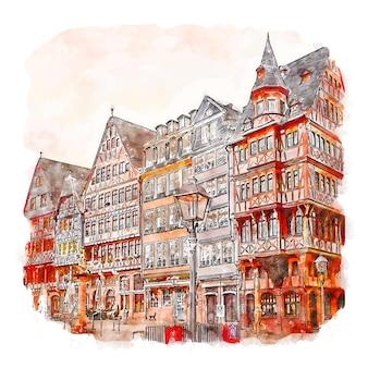 Франкфурт германия акварельный эскиз рисованной иллюстрации