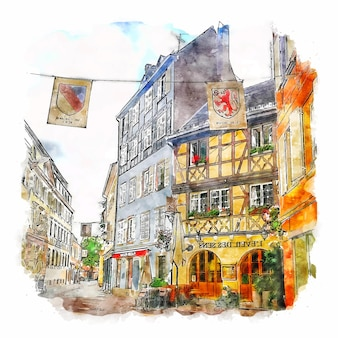 Frankreich france watercolor sketch hand drawn illustration