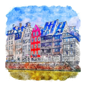 Frankreich 프랑스 수채화 스케치 손으로 그린 그림