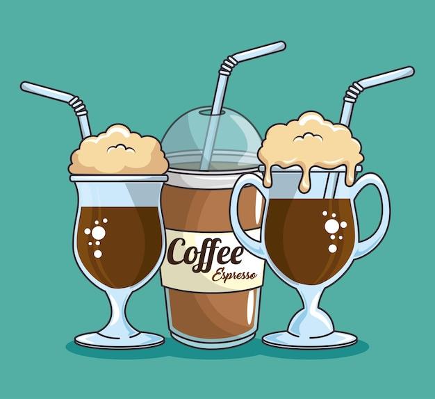 랩과 차가운 음료 커피