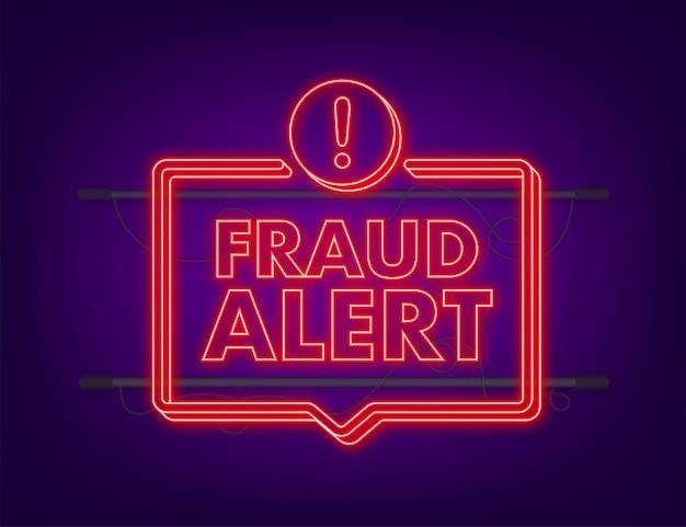 詐欺の警告。ネオンアイコン。セキュリティ監査、ウイルススキャン、クリーニング、マルウェアの排除、ランサムウェアベクトルストックイラスト。