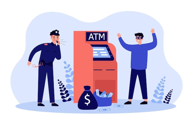 Fraud attacking atm. police man catching criminal in mask at cash machine