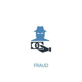 사기 개념 2 컬러 아이콘입니다. 간단한 파란색 요소 그림입니다. 사기 개념 기호 디자인입니다. 웹 및 모바일 ui/ux에 사용 가능