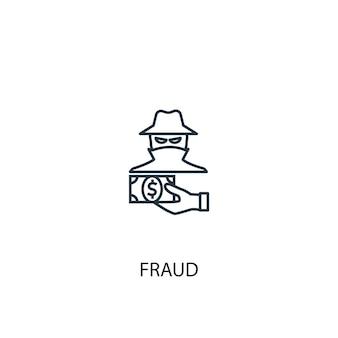 사기 개념 라인 아이콘입니다. 간단한 요소 그림입니다. 사기 개념 개요 기호 디자인입니다. 웹 및 모바일 ui/ux에 사용 가능