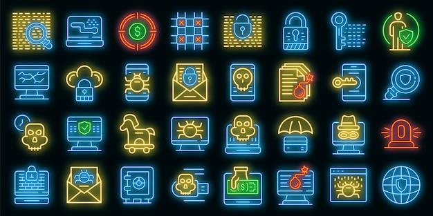 詐欺アイコンが設定されます。黒の詐欺ベクトルアイコンネオンカラーのアウトラインセット
