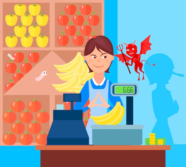 Fraud market trade background with flat greengrocer and devil characters in the market with weighing scales