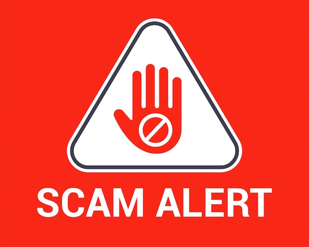Fraud warning. hand gesture of a stopping user from hackers. flat vector illustration.