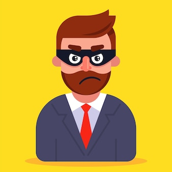 A fraudster in a business suit and a mask hiding his face