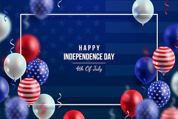 Фреалистический фон с воздушными шарами 4 июля в день независимости