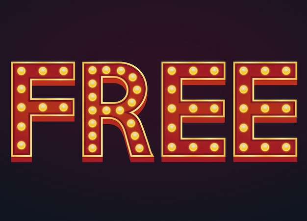Free banner alphabet sign marquee light bulb vintage