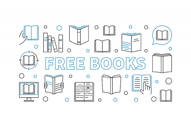 Free books concept linear illustration with elements