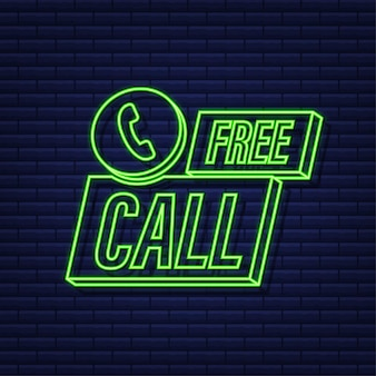 Free call. information technology. telephone neon icon. customer service. vector stock illustration.