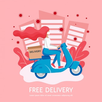 Free city delivery, stop coronavirus stay home banner, 2019-ncov pandemic caution quarantine. girl courier in medical mask delivers box on scooter. non contact shipping service  illustration