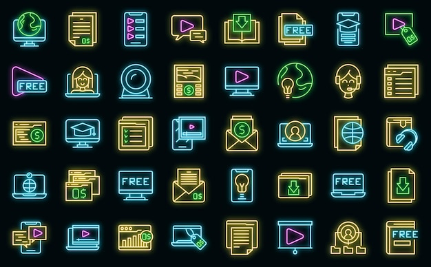 Free course icons set outline vector. virtual computer class. free app distance