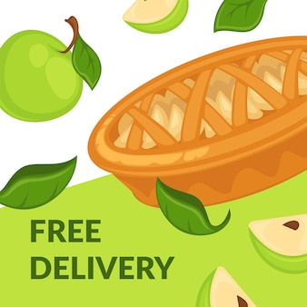 Free delivery on apple desserts pie with slices