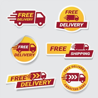 Free delivery badge sticker set.