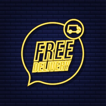 Free delivery. badge with truck. neon icon. vector stock illustrtaion.