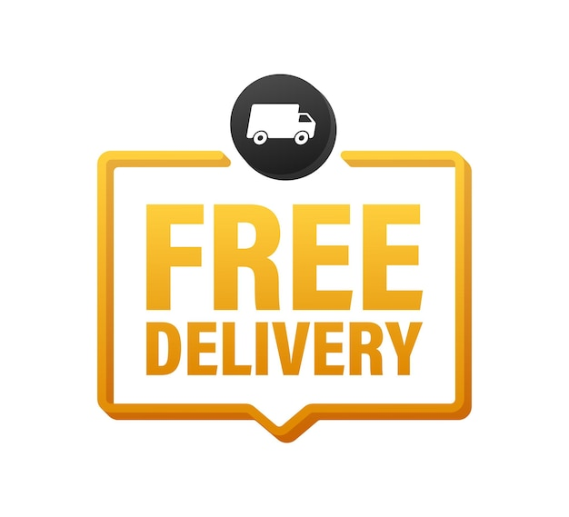 Free delivery. badge with truck. price tag. vector stock illustrtaion.