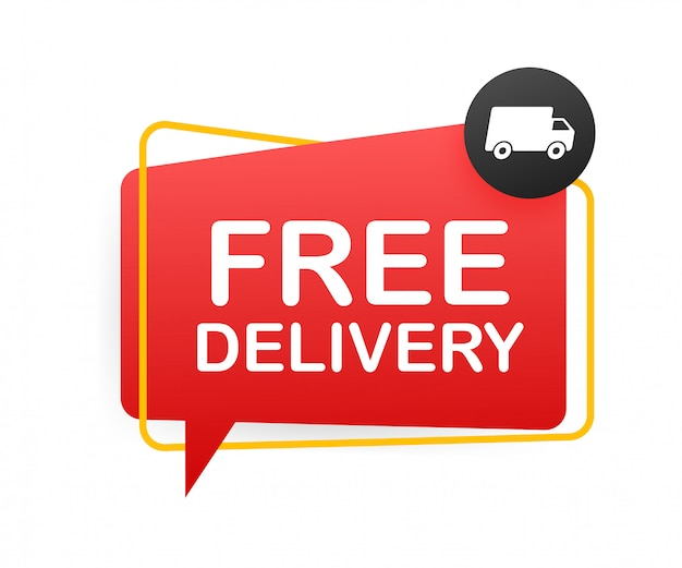 Free delivery. badge with truck. stock illustrtaion.