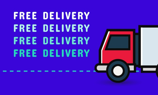 Free delivery banner with truck