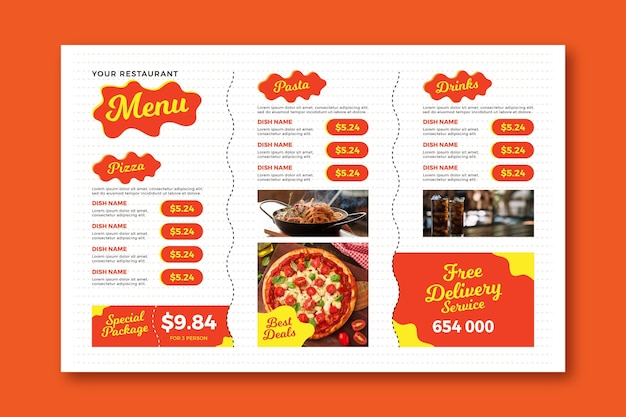 Free delivery digital horizontal restaurant menu template