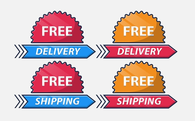 Free delivery free shipping delivery badge set