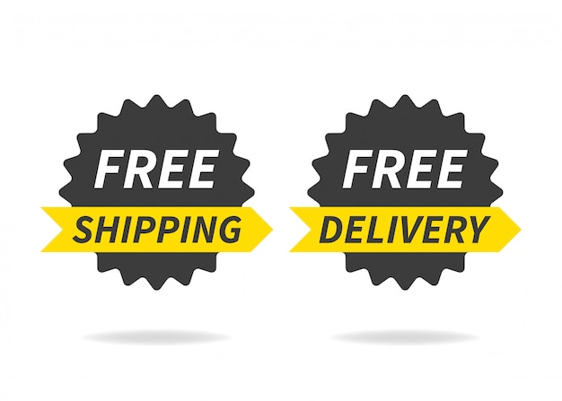 Free delivery, free shipping. delivery banner on white