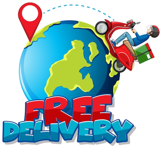 Free delivery logo with bike man or courier riding on the earth