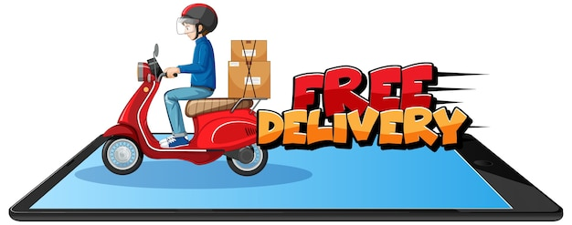 Free delivery logo with bike man or courier